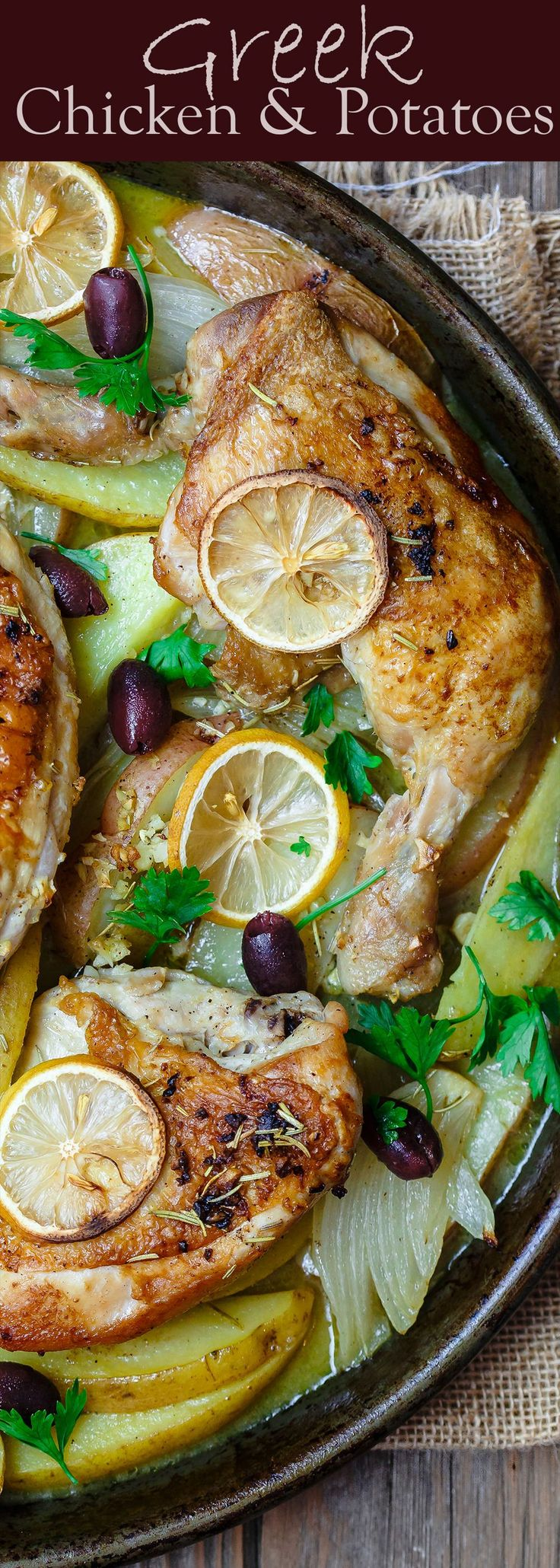 Easy Greek Chicken and Potato Dinner   The Mediterranean Dish. BEST Greek chicken and potato dinner all in one sheet pan! Seasoned with rosemary and baked in a zesty juice with lots of garlic. Definite Winner!