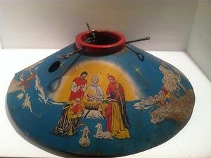 Vintage Christmas Tree Stand ~ Beautiful Tin Litho Nativity Tree Stand