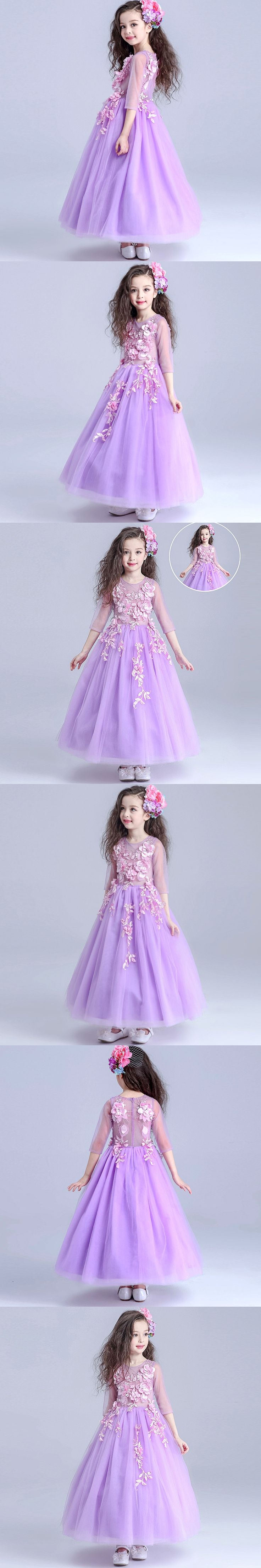 HOT Wedding Party Purple Formal Flowers Girl Dress Baby Pageant Dresses Birthday Cummunion Toddler Kids evening gowns Custom
