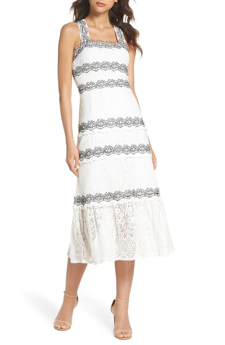 Embroidered Lace Midi Dress.