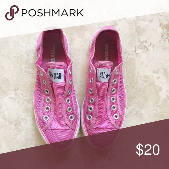 Converse Slip-On Sneakers - Pink Used. Super comfortable. Converse Shoes Sneakers
