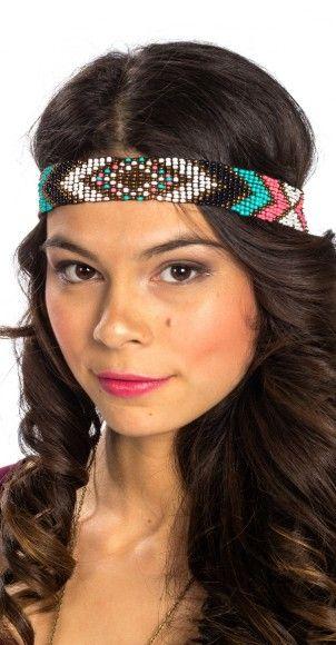 Beaded Aztec Headband. Adorable accessory for festival fun.