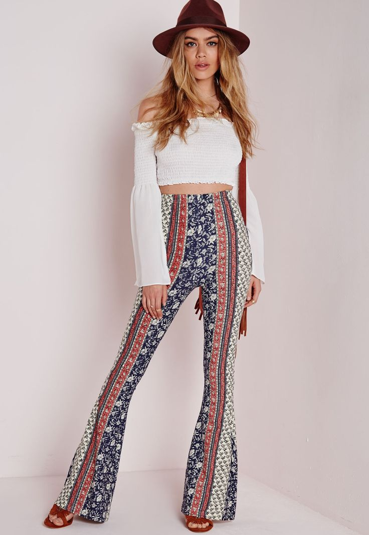 Ditsy Floral Print Jersey Flare Trousers - Jersey - Flare - Trousers - Missguided