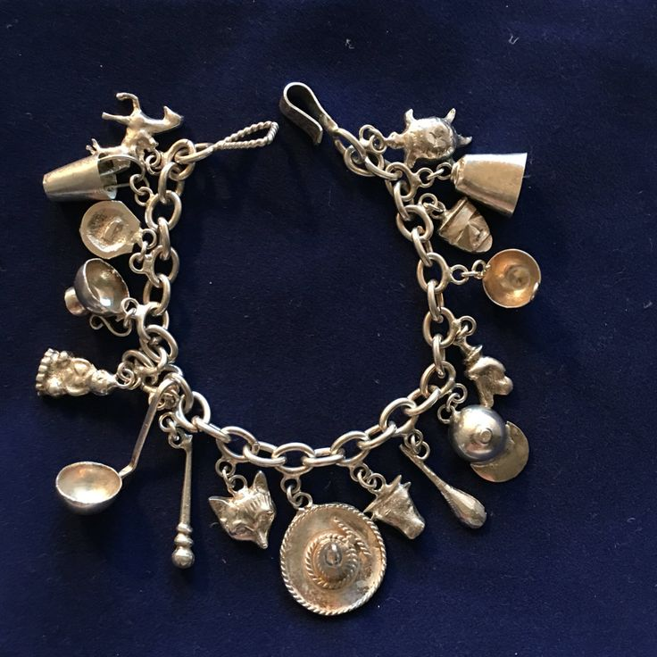 Mexican Sterling Silver Charm Bracelet with 17 Charms, Fox Charm, Horse Charm