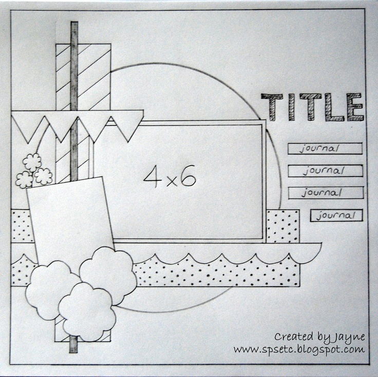 1 photo #4x6 #12x12 #sketch---Wendy Schultz via Sue Cook onto Scrapbook Sketches.