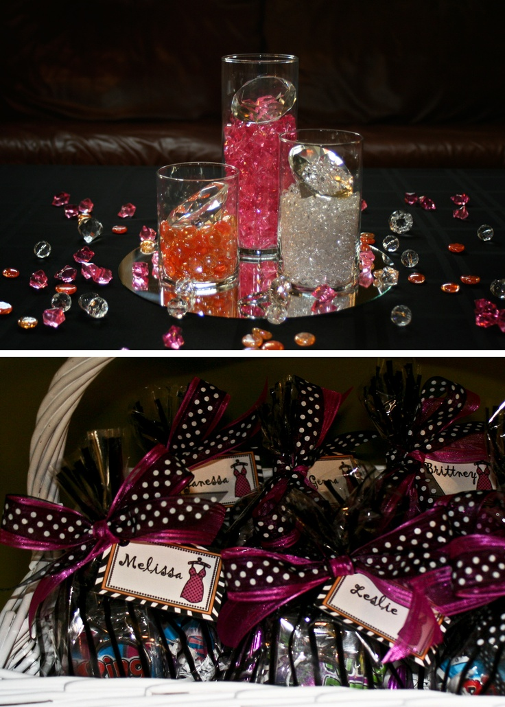 Bling Themed Bachelorette Party || centerpiece and favors