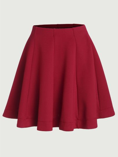 Red Vertical Panel Flare Skirt