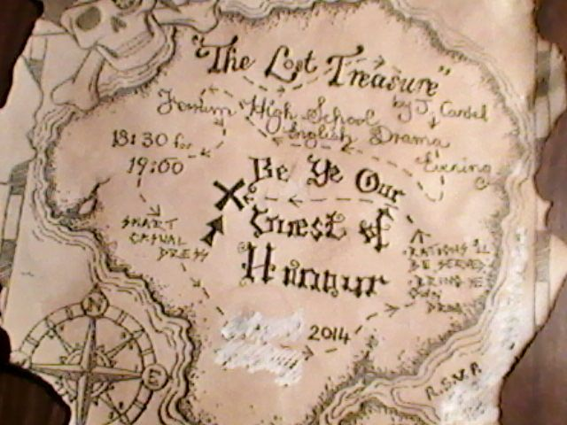 invitations to the guests of honour for our English School Play.  Found the blank map on the internet and hand-wrote the rest