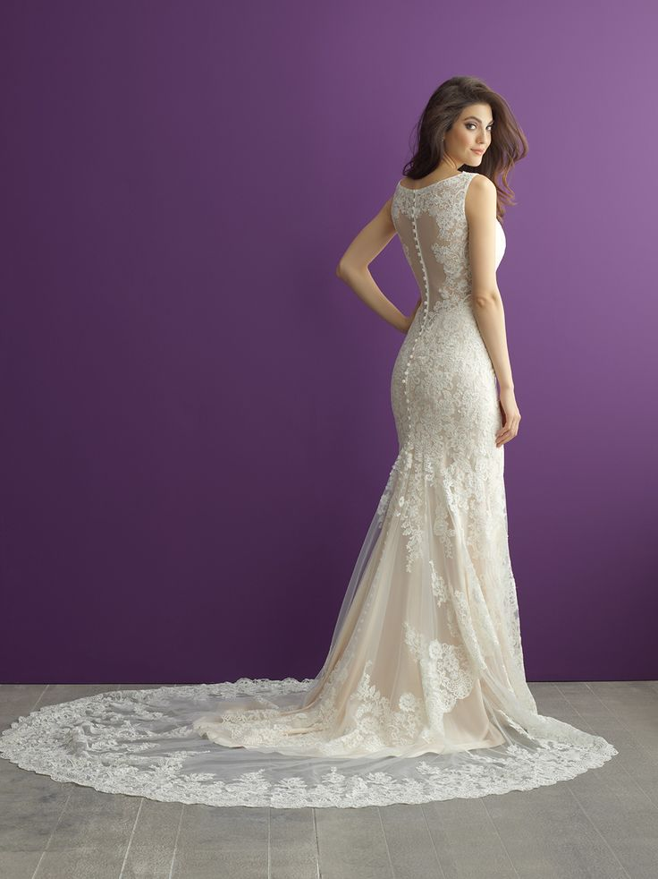 This slim-fitting, sleeveless lace gown is both striking and flattering // Allure Romance 2956