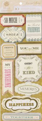 Anna Griffin - Francesca Collection - 3 Dimensional Cardstock Stickers - Titles at Scrapbook.com $4.99