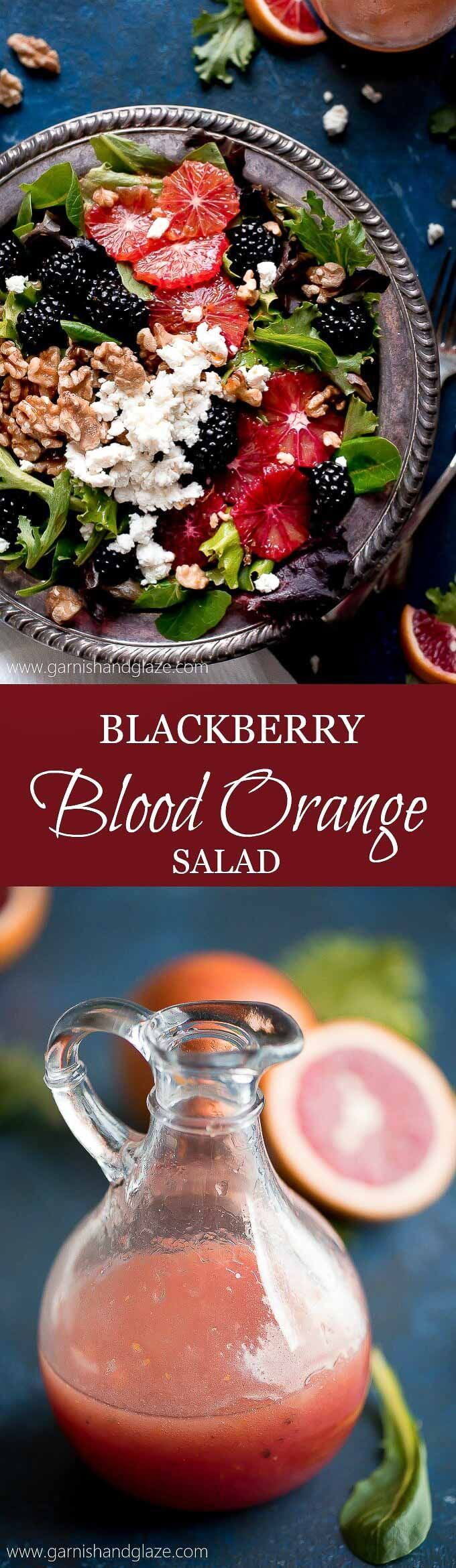 Grab a bowl of this BLACKBERRY BLOOD ORANGE SALAD with blood orange vinaigrette, creamy goat cheese, and toasted walnuts for a healthy and refreshing lunch!