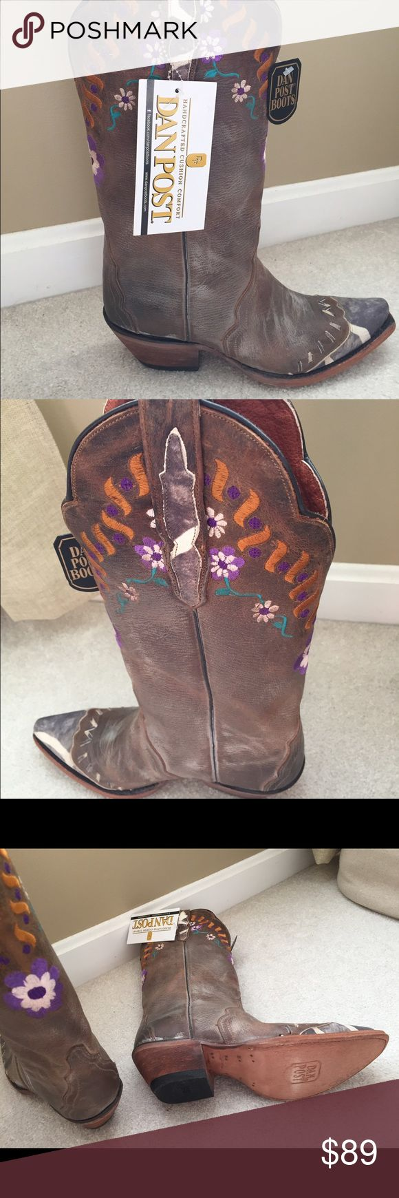 DanPost women's Western Boots leather, never worn Distress leather and embroidered flowers/animal print DanPost Shoes Ankle Boots & Booties