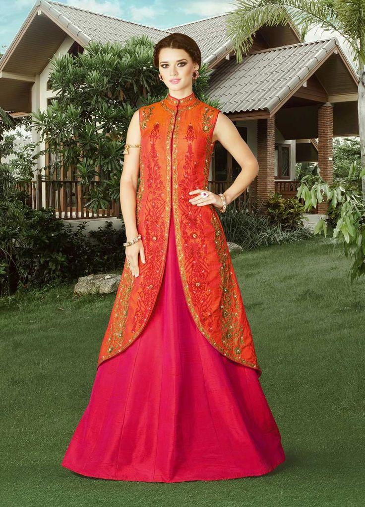 bridal wear wedding suits store  ORANGE SILK ZARI STONE WORK HEAVY EMBROIDERED LEHENGA STYLE SUIT