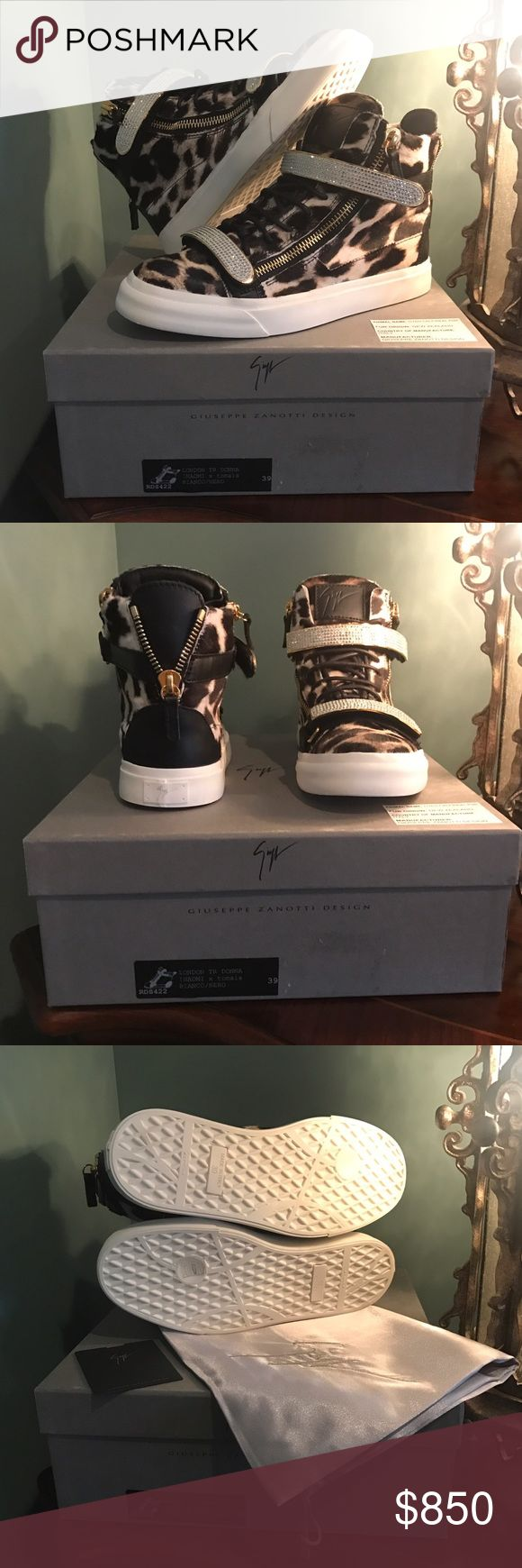 GIUSEPPE ZANOTTI sneakers Leopard print calf hair Giuseppe Zanotti high top sneakers in black & white. Crystal embellished grip straps. Exposed zipper detail at sides & back. Lace up front with GZ logo patch on tongue. Comes with dust bag & box. 100% authentic/certificate is included. Smoke free 🏡 🆕-never worn Giuseppe Zanotti Shoes Sneakers