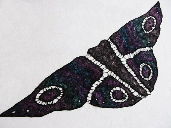 Butterfly Scarf Nuno Felted Scarf Silk Wool Scarf Nuno Felted Shawl Wrap Black Purple Green Hand Felted Scarf for Women Design Shawl