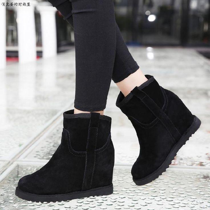 Fur Leather Boots Women Winter Warm Cotton Shoes