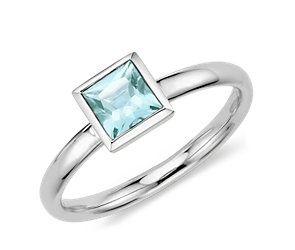 ModernStackable Rings, Stack Rings, Stacked Rings, Jewelry, White Gold, Cut Aquamarine, Bezel Stacked, Princesses Cut, Princess Cut