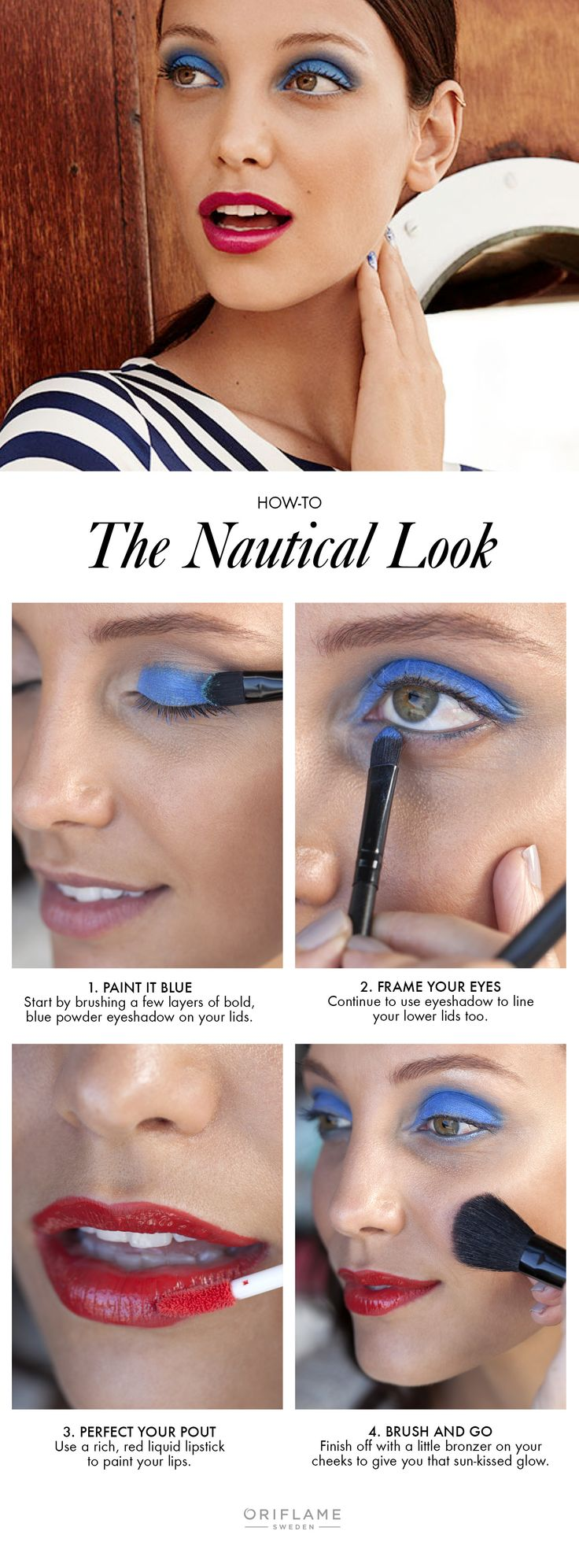 Bold blue eyeshadow and stand-out red lips make for a modern upgrade to nautical inspired makeup. And a great alternative to summer shades of nude and beige.