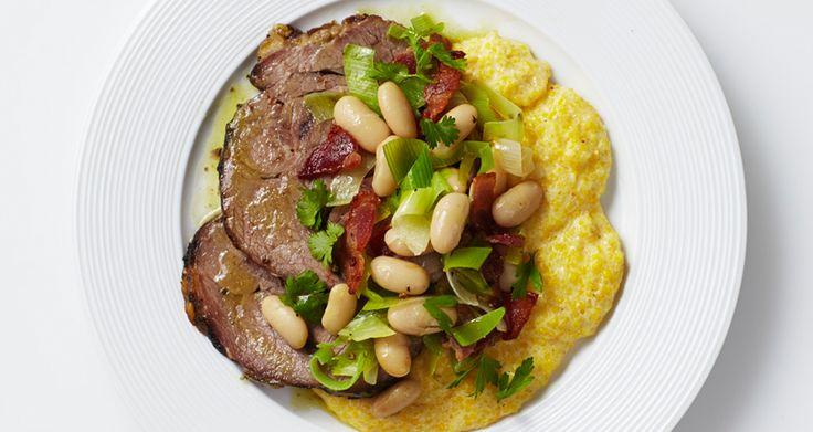 Lamb Shoulder with Polenta and Beans