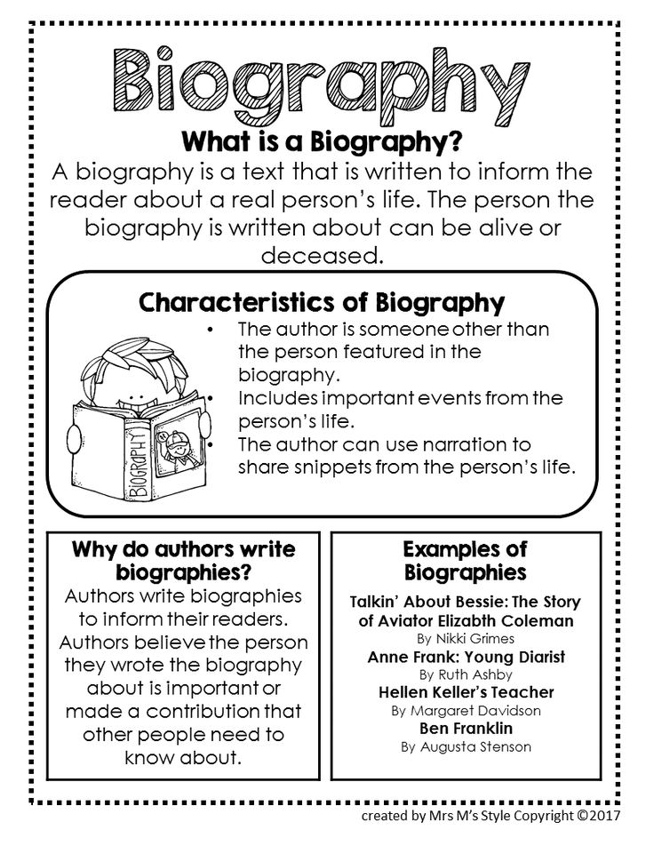 Biography Genre Anchor Chart