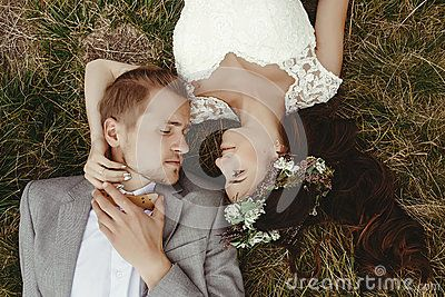 Gorgeous Bride And Stylish Groom Lying On Top, Close Up, Boho We - Download From Over 60 Million High Quality Stock Photos, Images, Vectors. Sign up for FREE today. Image: 90985062