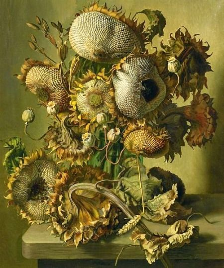 Gerald A. Cooper (British, 1896-1975) ~  Sunflower SeedCooper British, Sunflowers Seeds, Century Artsandcrafts, Botanical Art Painting, Sunflowers Painting, 20Th Century, Cooper Sunflowers, Sunflowersmi Fav, Seeds 20Th