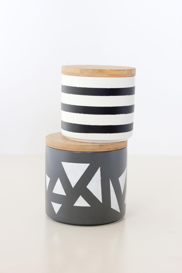 Simple Geometric Painted Treat Jars
