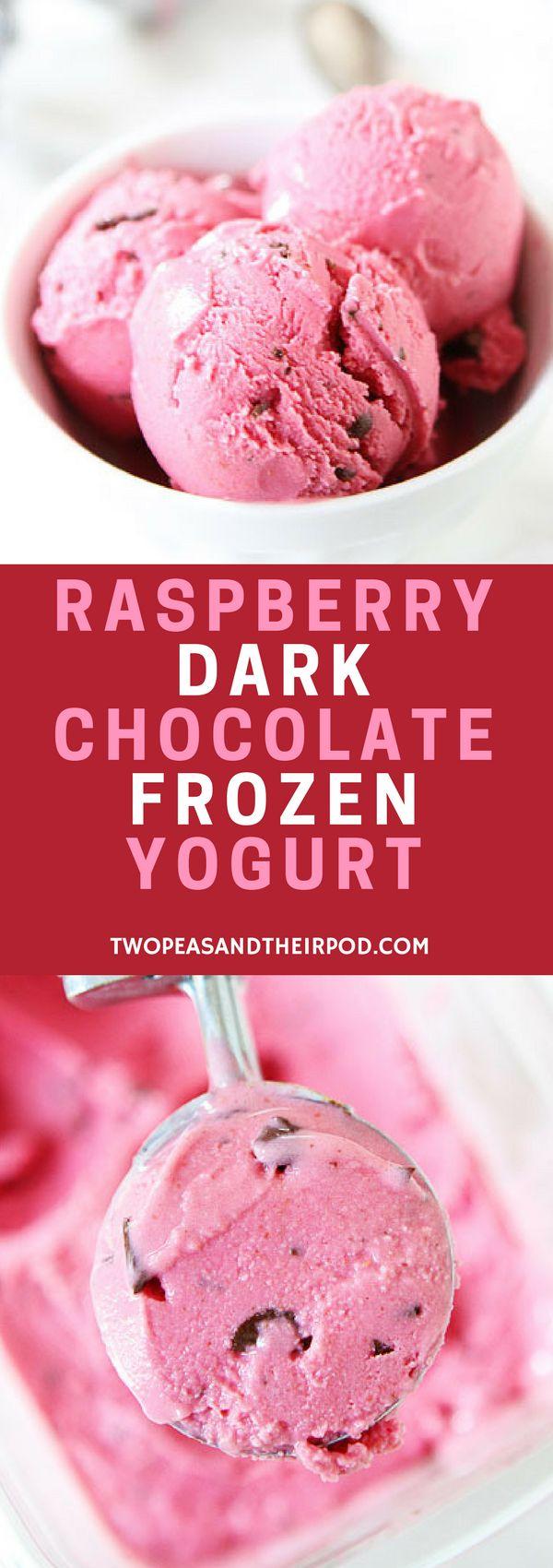 Raspberry Dark Chocolate Frozen Yogurt - It only has 5 ingredients-raspberries, Greek yogurt, vanilla, sugar, and dark chocolate. This is definitely a stress-free frozen yogurt! For more easy and delicious dessert recipes, check us out @twopeasandpod #desserts #sweettooth #easyrecipe