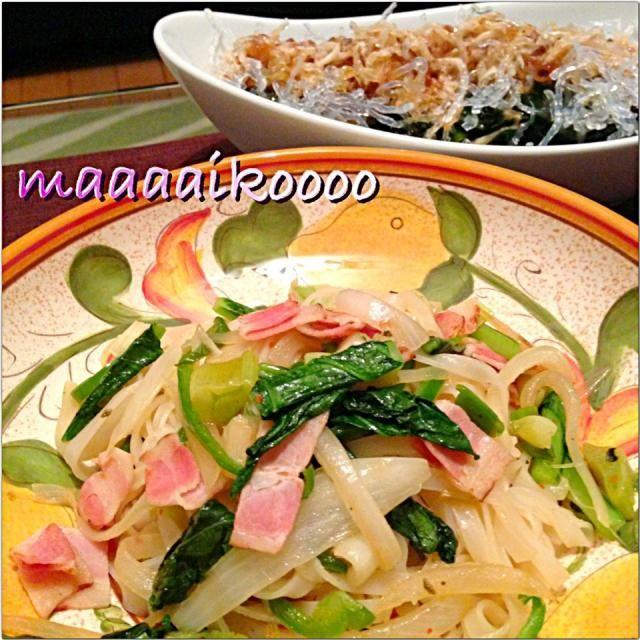 海藻麺のコリコリ食感が大好きだぁ~! - 50件のもぐもぐ - タイ風焼きそば&ワカメコリコリサラダ by maaaaikoooo