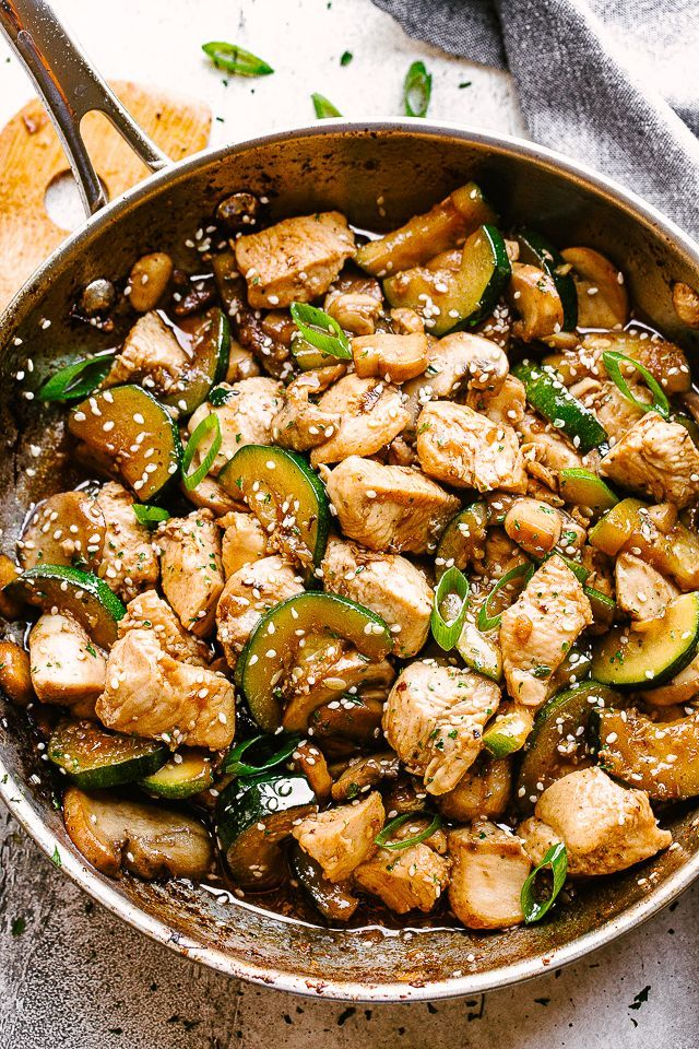 Mushroom Chicken Stir Fry Chicken Stir Fry With Zucchini Mushrooms And The Flavors O Stir Fry Recipes Chicken Easy Zucchini Recipes Chicken Zucchini Recipes