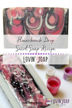 Flowerbomb Drop Swirl Soap Recipe + Video cold process soap | swirling | soap swirl | drop swirl | soap making video | swirling video | valentine soap | diy soap | pink soap design