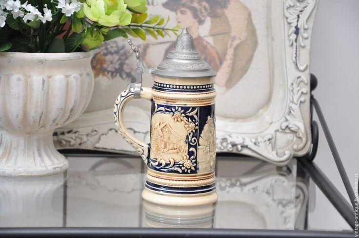 Купить Пивная кружка с оловянной крышкой, Германия - старинные вещи, символ, предметы интерьера