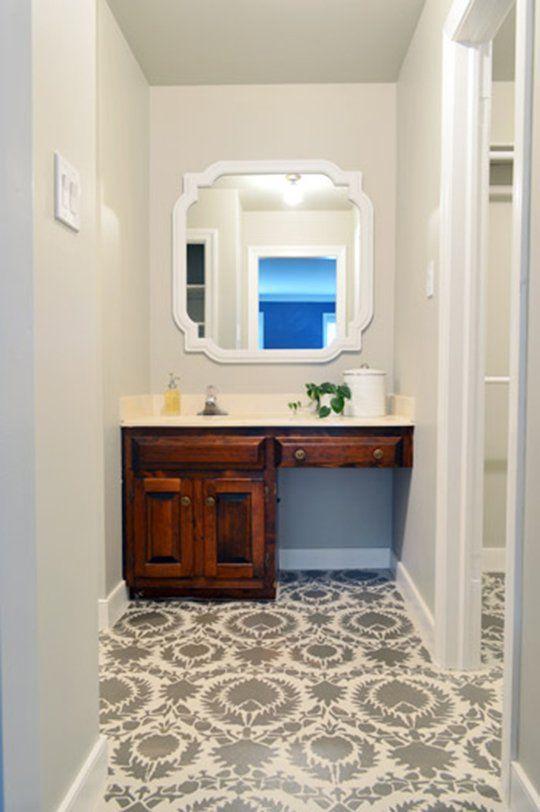 DIY Bathroom Ideas:  Stencil Your Floor    Young House Love