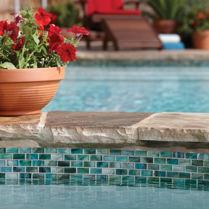 Check out this American Olean product: Photo features Peaceful Sea in 1 x 2 mosaic on pool lining.