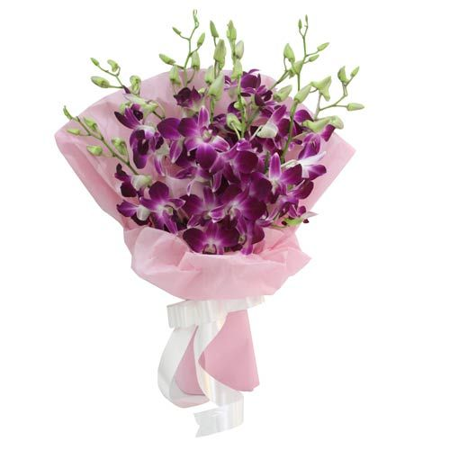 A lovely one-sided bouquet of fresh and exotic 9 purple orchids wrapped in a baby pink wrapping paper with a white colour ribbon bow tied on it. Simply beautiful and an elegant gift that can bring smile to your someone special. An amazing way to make them feel special, who make you feel happy and complete your life. Its simply awesome! http://www.fnp.com/flowers/friendship-day-flowers/exotic-beauty/--clI_2-cI_2824-pI_23973-i_23589.html