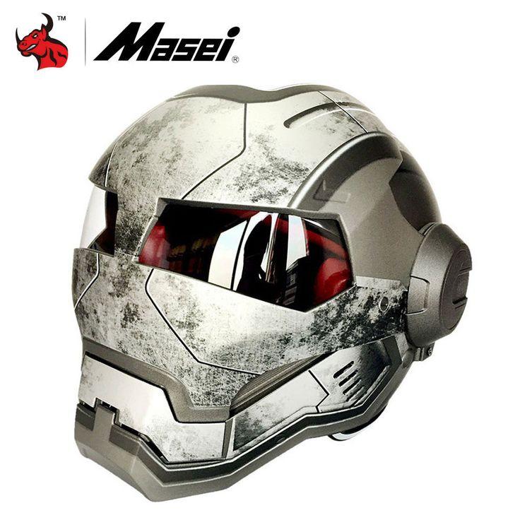 check price masei classic iron man motorcycle helmet casque motocross flip up moto vintage racing helmets #masei #helmet