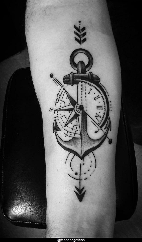 Compass Tattoos Arm, Forarm Tattoos, Compass Tattoo Design, Cool Forearm Tattoos, Mom Tattoos, Sleeve Tattoos, Marine Tattoos, Navy Tattoos, Small Tattoos For Guys