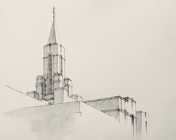 LDS Bountiful Temple Drawing  Ink wash and by ChristensenPaintings, $25.00 on Etsy