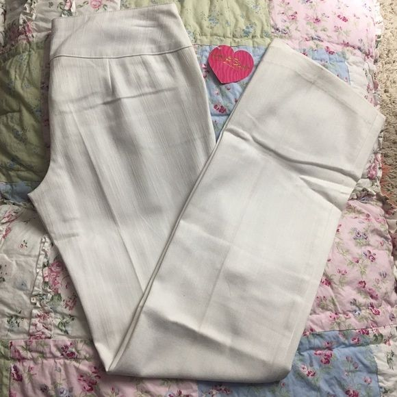 """Heart Soul"" Soft white slacks Soft cotton white slacks. New with tags. Size 3. 31 inch inseam. 60% Cotton. 37% Polyester. 3% Spandex. HeartSoul Pants"