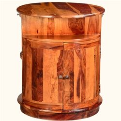 Rustic Barrel Chest Solid Wood 2-Sided Wine Bar Liquor Storage Cabinet