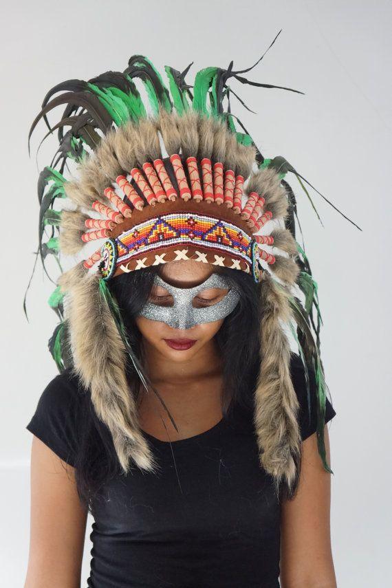 HALLOWEEN Green / Black Native American Headdress by bonesandskull