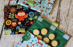 I adore cute reusable fabric snack bags (and sandwich bags) for my daughter's lunches. Nicely made ones with liner that helps with food freshness can be pricey though. I decided to make my little diva some myself this year. I found some adorable cotton print fabric and backed it with fusible interfacing for stiffness. The cuteness will certainly will make my daughter's lunch more fun & cheerful.