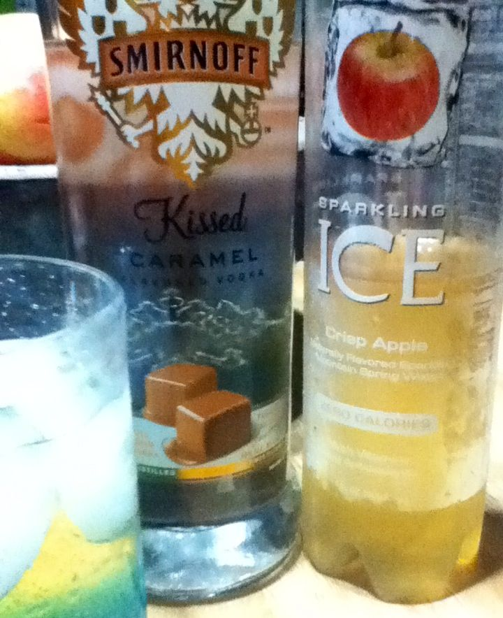 carmel vodka + Ice sparkling apple = yum!