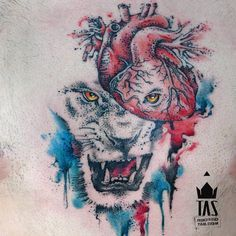 Lion Heart... #tas #rodrigotas #watercolortattoo #dotworktattoo #pontilhismo #aquarela #hearttattoo #humanhearttattoo #lion #liontattoo #diamante #coração #chesttattoo #chest #tatuagem #tatuaje #inspirationtatto #tattoodesign #equilattera #tattrx #tattooartistmagazine #tattoocollectors #inkedmag #tattooculturemagazine #tattooistartmag #inkedmag #gettinginked #crazyytattoos #tattoaria #zupi