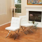 Odem White Leather Dining Chairs (Set of 2)