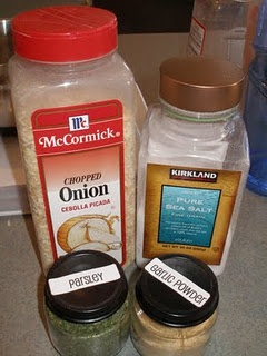Dry Onion Soup Mix, Dry Taco Seasoning Mix and Dry Ranch Dressing
