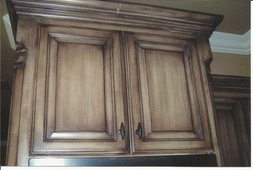 Kitchen Cabinets Before & After - spaces - dallas - Glen Houston's Painting - Love the color! Ralph Lauren Country Cork with a Raw Umber Glaze