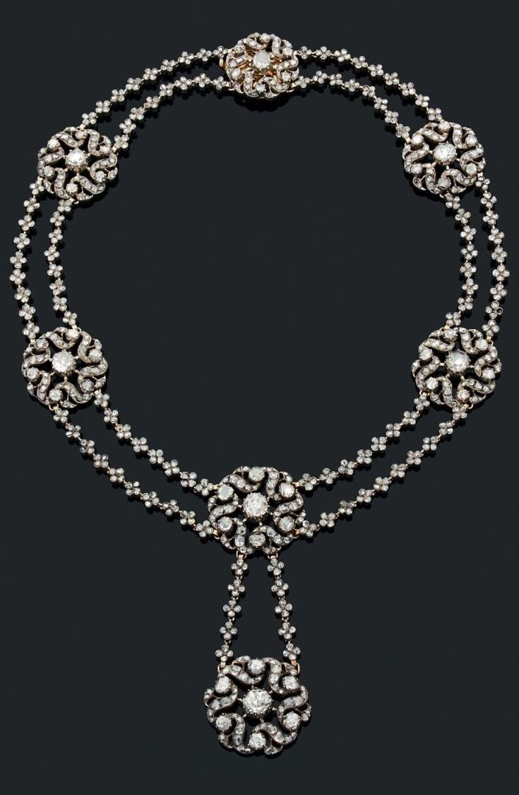 A superb antique silver, gold and diamond necklace, probably Eastern, early 19th century. #antique #necklace
