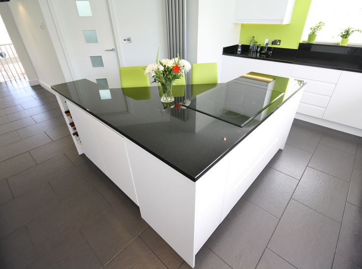 Second nature remo white gloss units black granite for Kitchen units and worktops