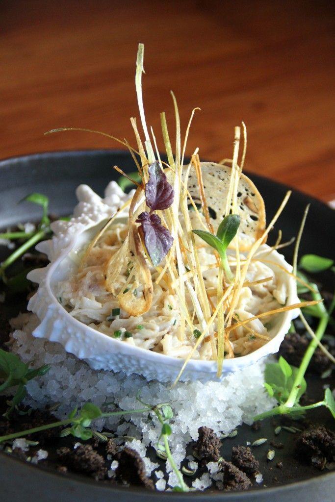 Araignée de mer décortiquée fine pulpe de fenouil salade dendives par Jean-Yves Guého lAtlantide 1874 (1 au Michelin) Nantes